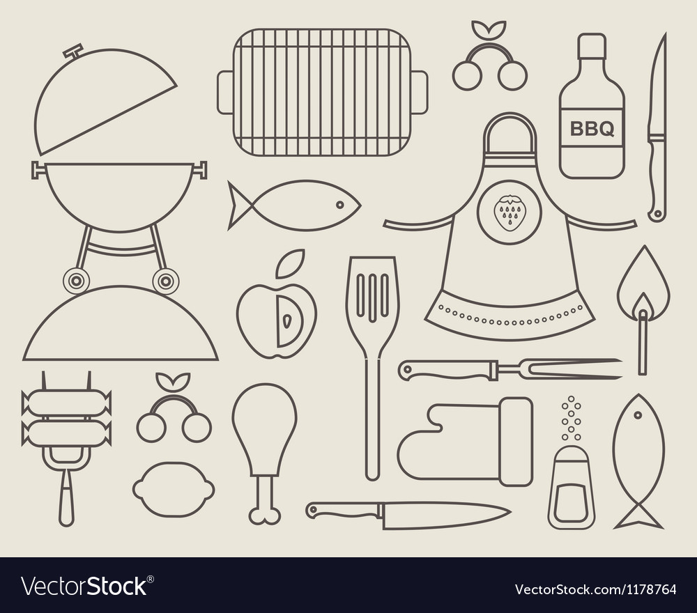 Barbecue icons vector   Price: 1 Credit (USD $1)