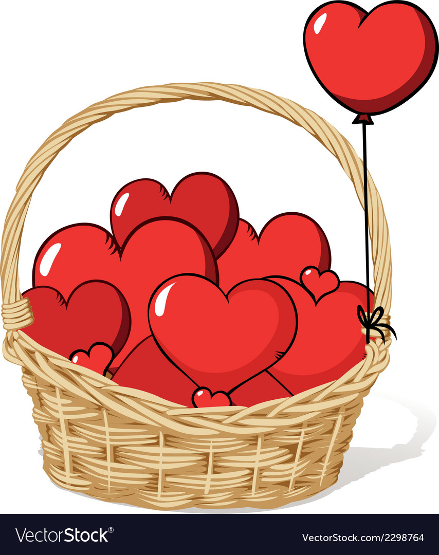 Basket full of love - hearts vector | Price: 1 Credit (USD $1)