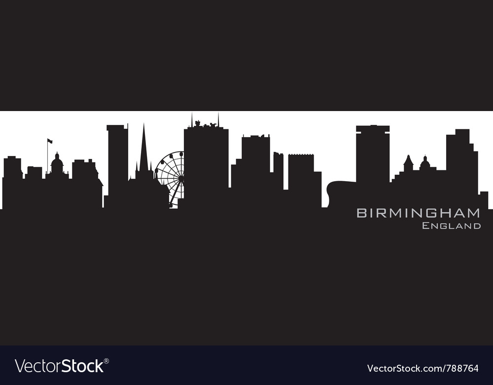 Birmingham england skyline detailed silhouette vector | Price: 1 Credit (USD $1)