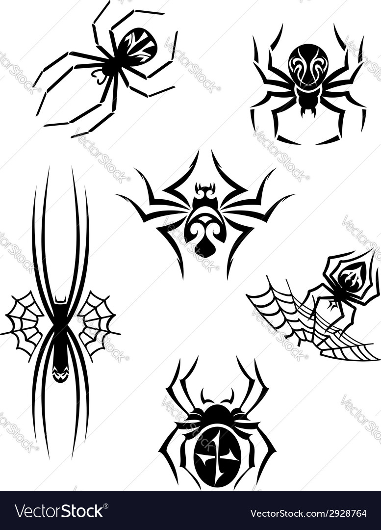 Black danger spiders set vector | Price: 1 Credit (USD $1)