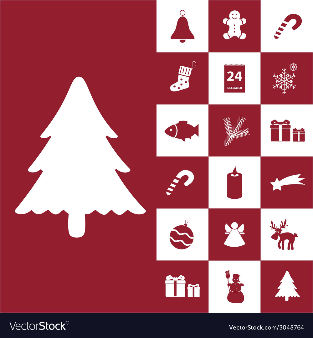 Christmas red and white icons collection eps10 vector | Price: 1 Credit (USD $1)