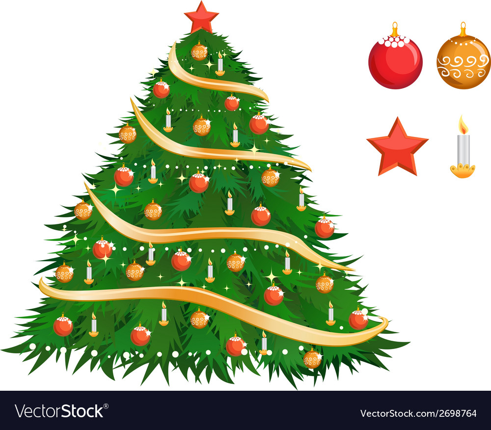 Colorful christmas tree vector | Price: 1 Credit (USD $1)