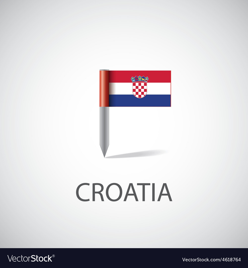 Croatia flag pin vector | Price: 1 Credit (USD $1)