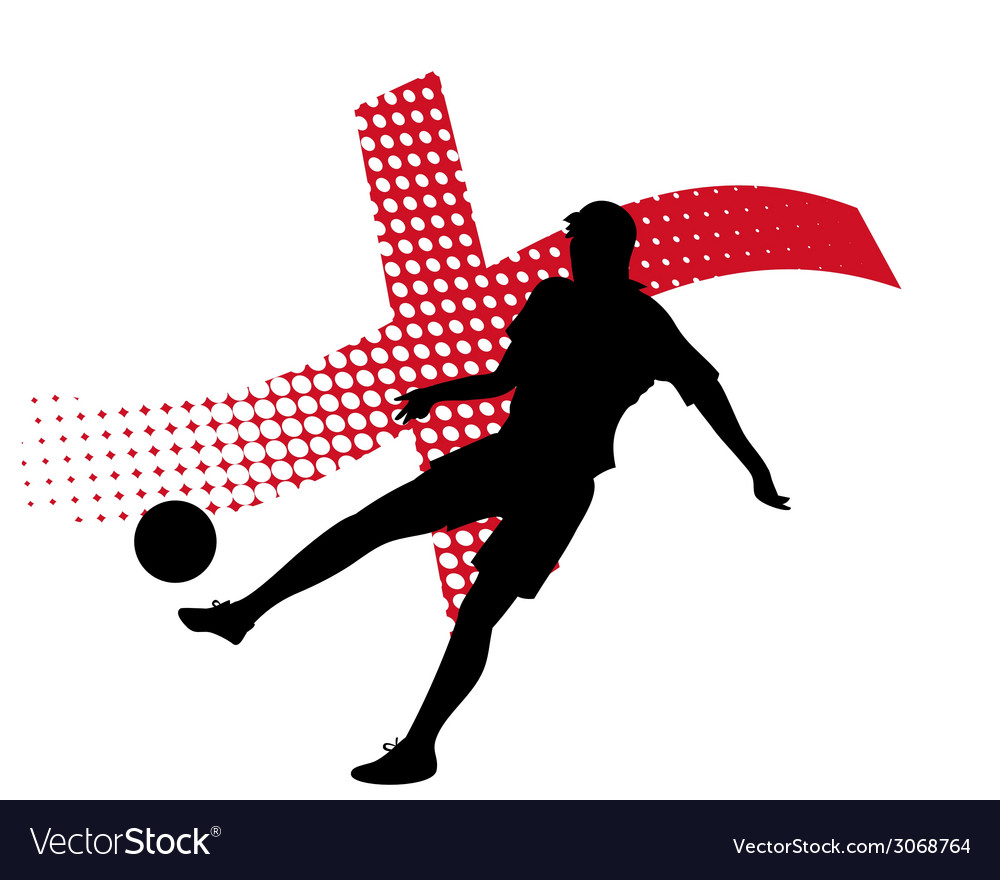 England soccer player against national flag vector | Price: 1 Credit (USD $1)
