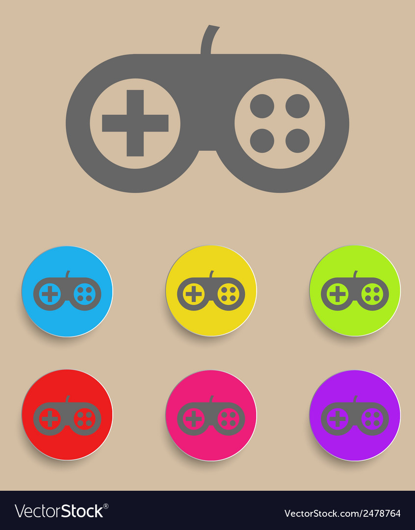 Game controller icon with color variations vector | Price: 1 Credit (USD $1)