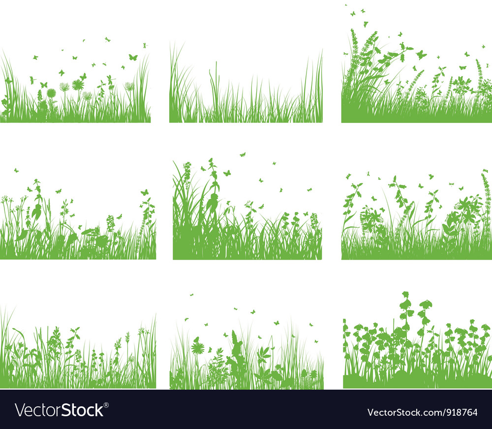 Grass set nine vector | Price: 1 Credit (USD $1)