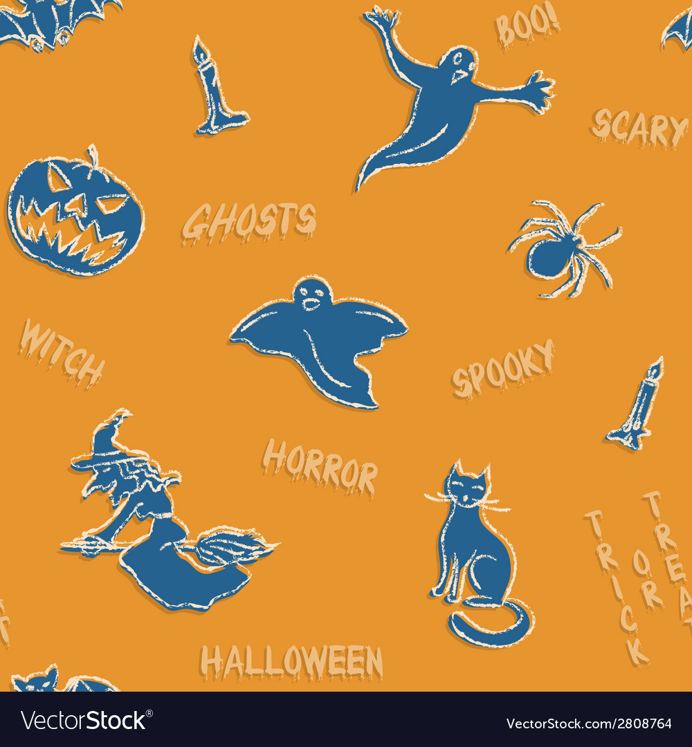 Halloween silhouettes pattern with text vector | Price: 1 Credit (USD $1)