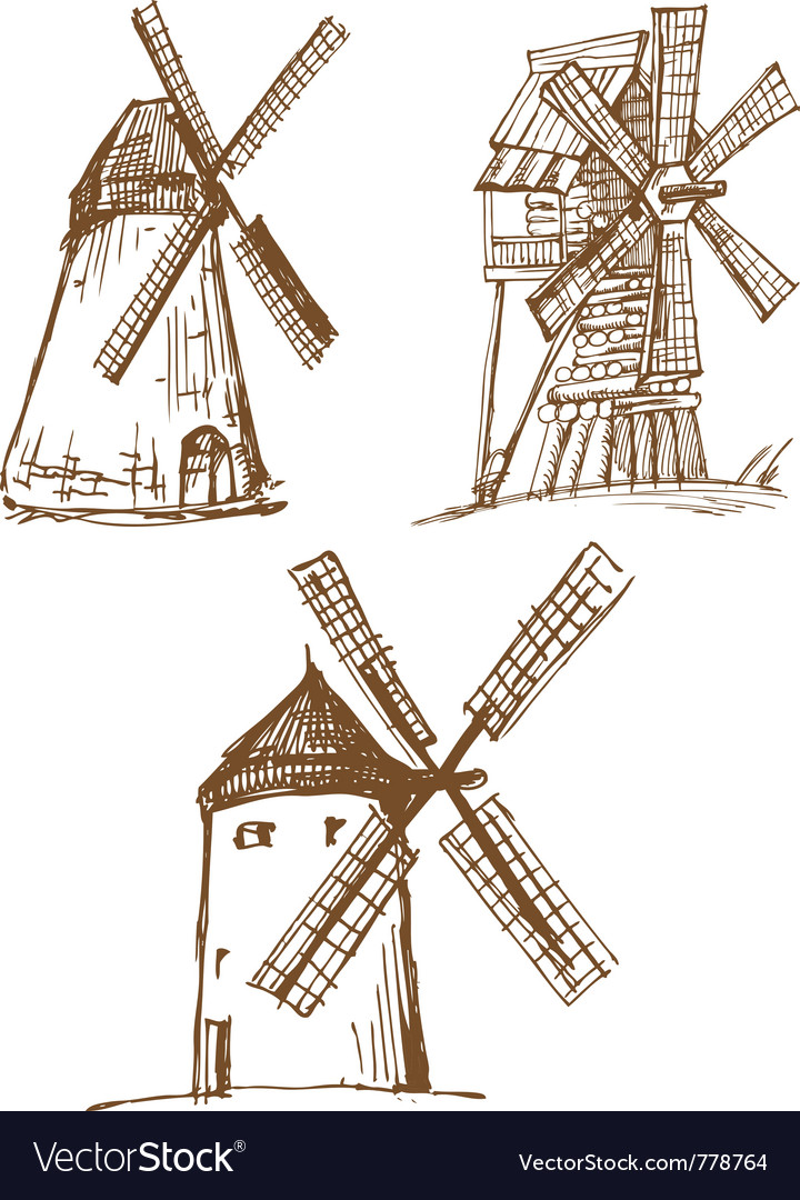 Hand drawn sketched old mills vector | Price: 1 Credit (USD $1)