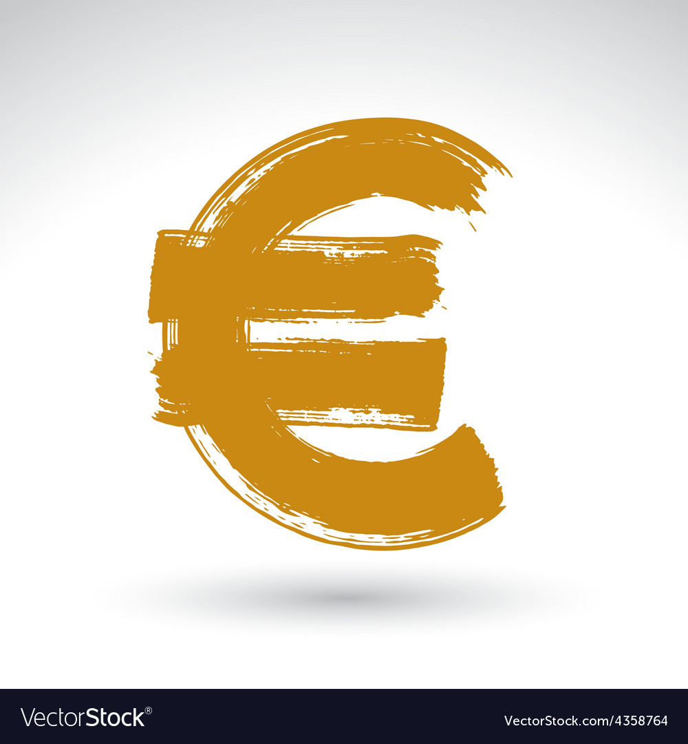 Hand-painted yellow euro icon isolated on white vector | Price: 1 Credit (USD $1)