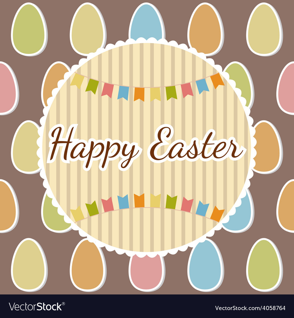 Happy easter greeting card with eggs happy easter vector | Price: 1 Credit (USD $1)