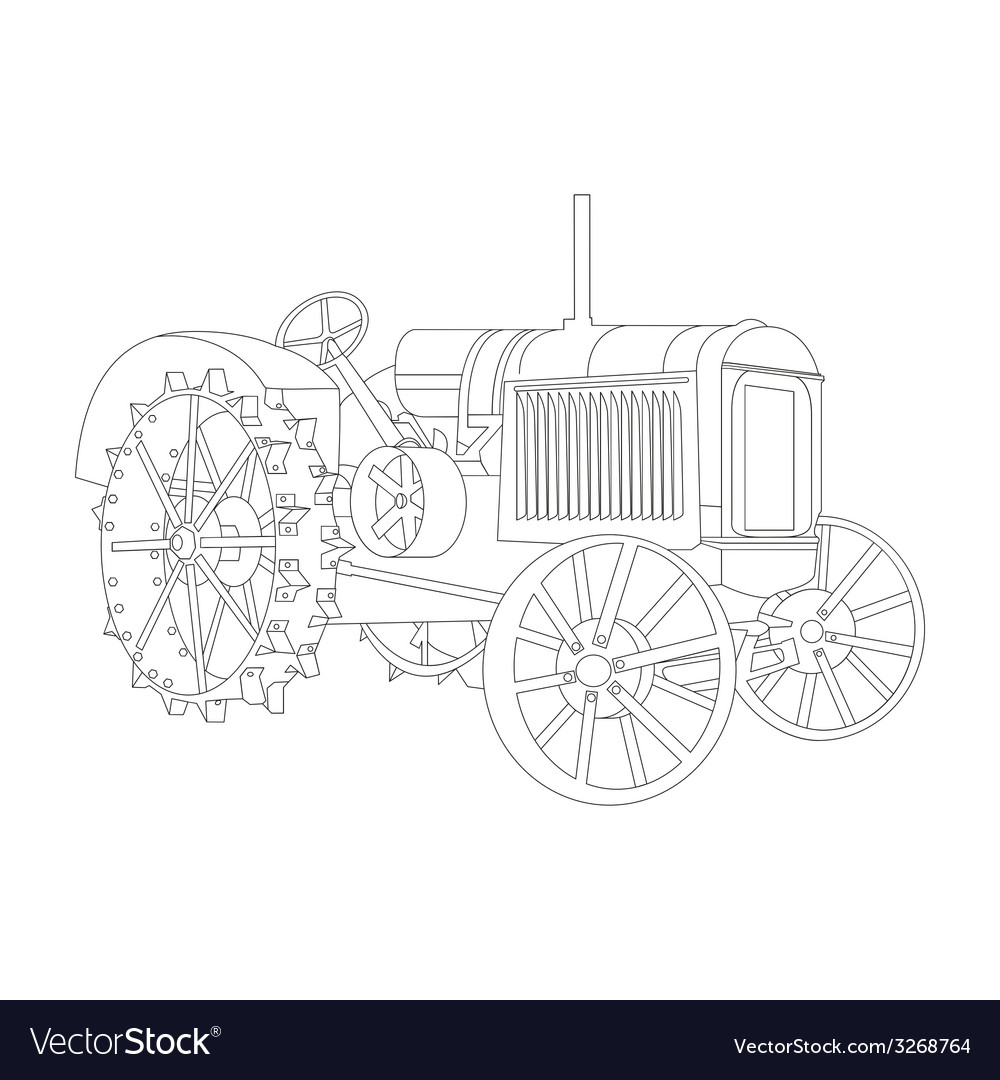 Outline of the old tractor vector | Price: 1 Credit (USD $1)