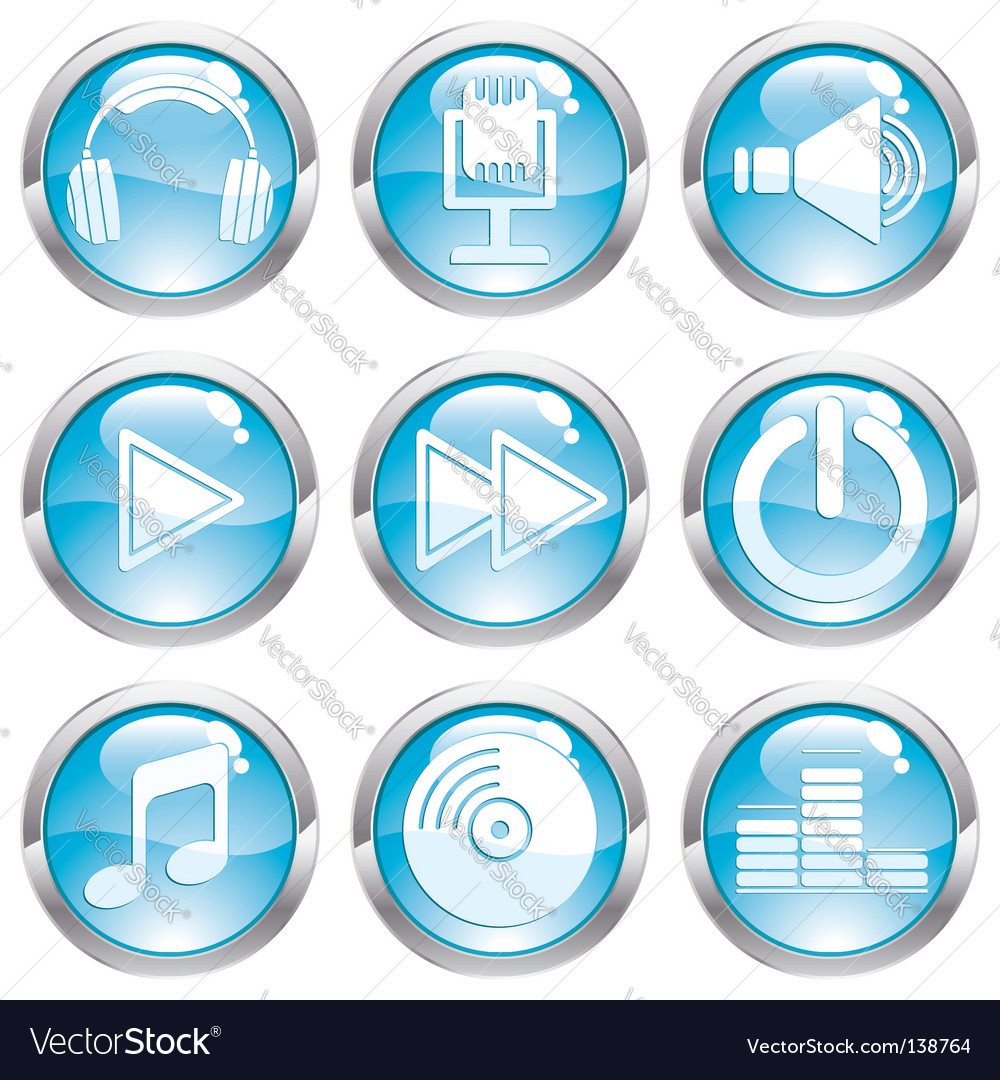 Set music gloss button vector | Price: 1 Credit (USD $1)