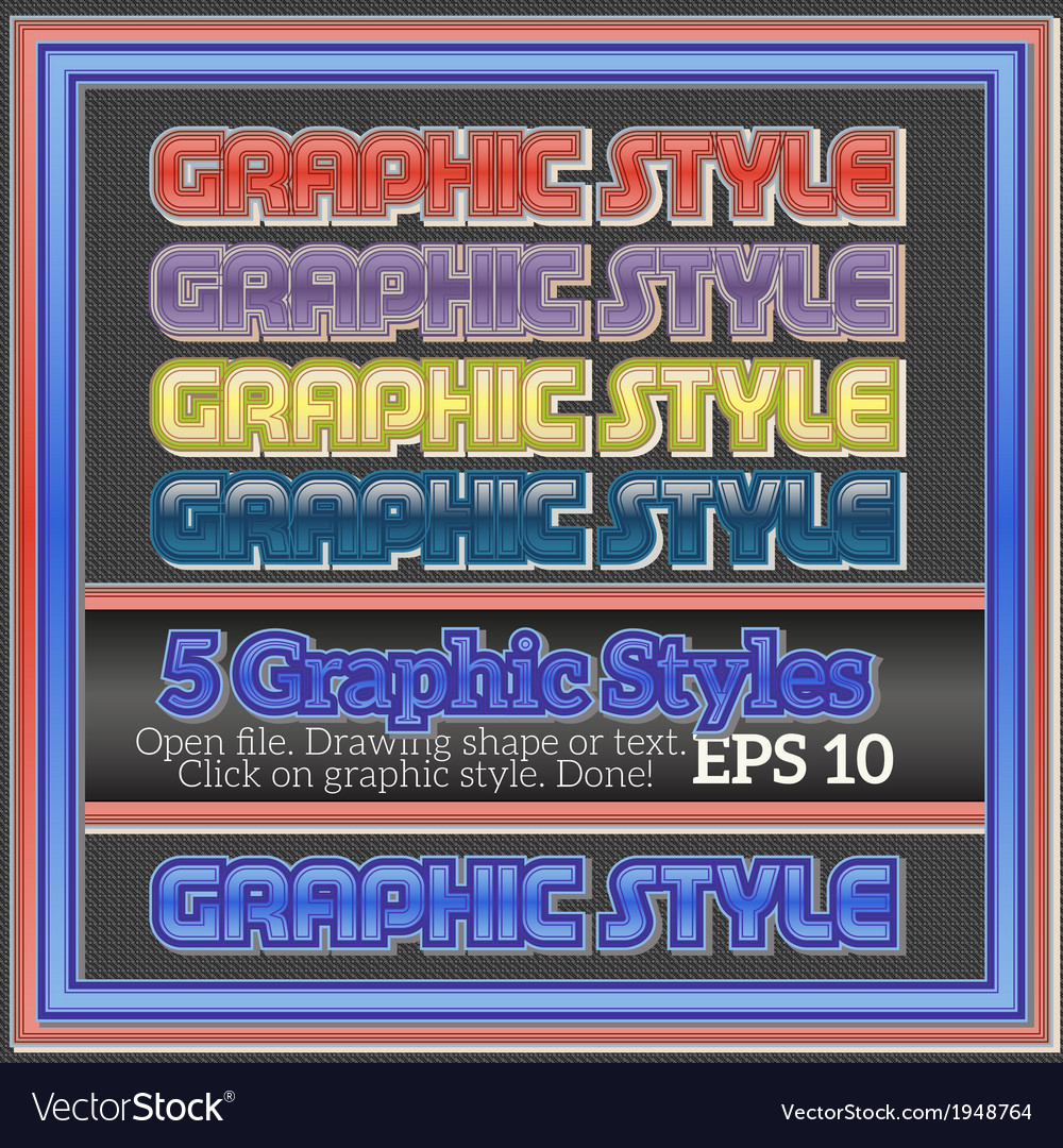 Set of bright graphic styles for design vector | Price: 1 Credit (USD $1)