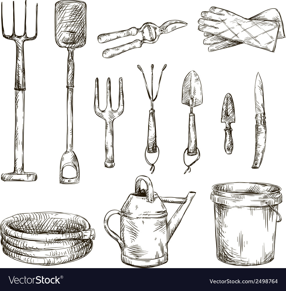 Set of gardening tools drawings vector | Price: 1 Credit (USD $1)