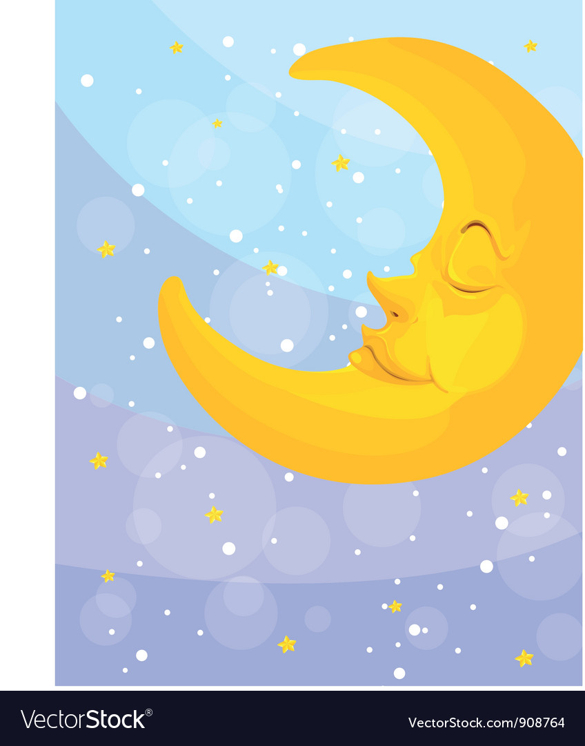 Sleeping moon vector | Price: 3 Credit (USD $3)