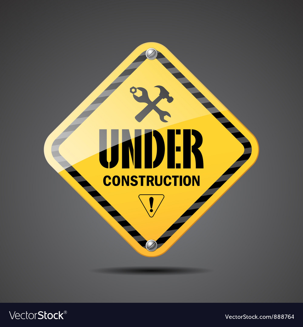 Under construction sign on black background vector | Price: 1 Credit (USD $1)