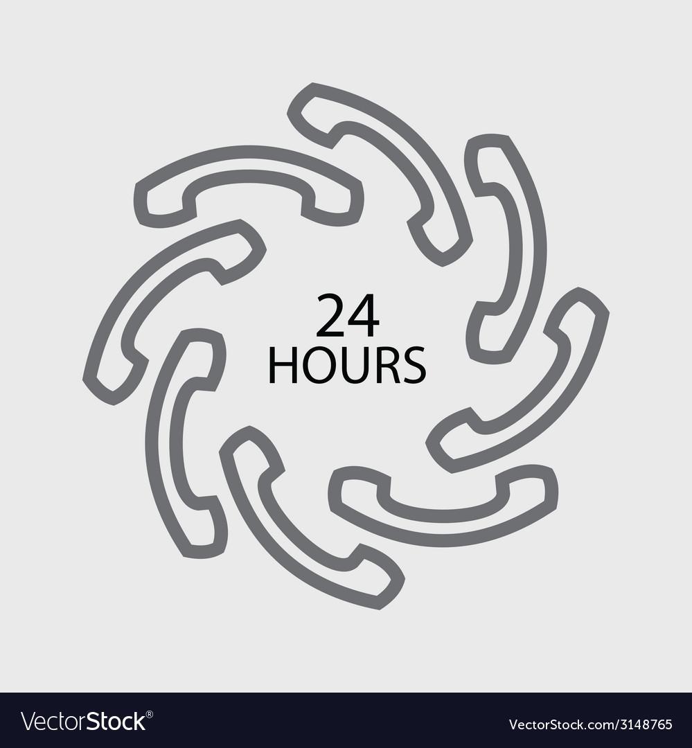 24 hours handset icon vector   Price: 1 Credit (USD $1)