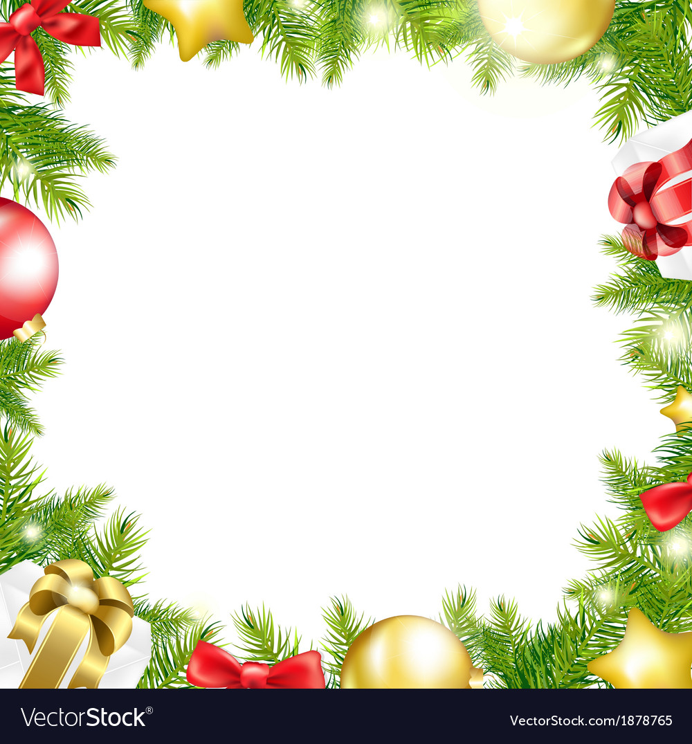 Christmas background with ribbon and xmas ball vector | Price: 1 Credit (USD $1)