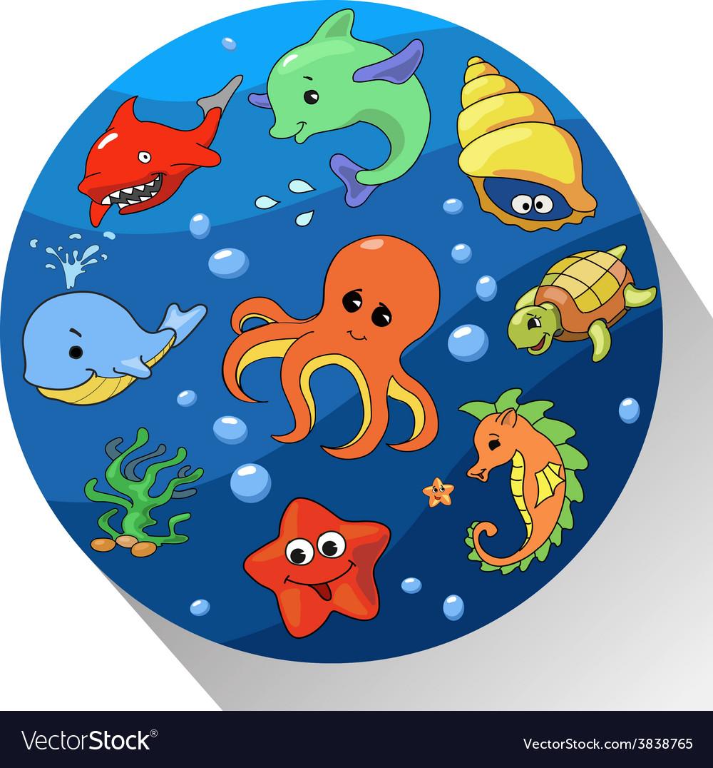 Cute sea creatures set vector | Price: 1 Credit (USD $1)