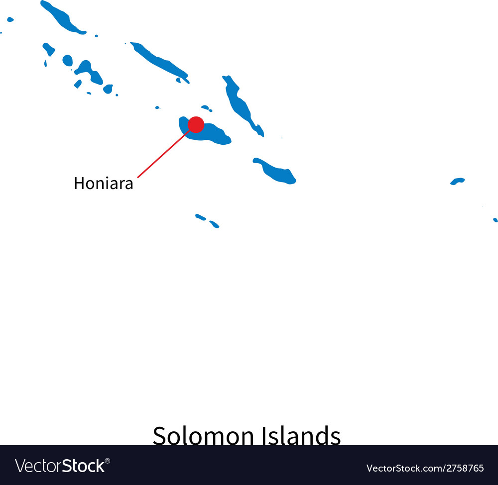 Detailed map of solomon islands and capital city vector | Price: 1 Credit (USD $1)
