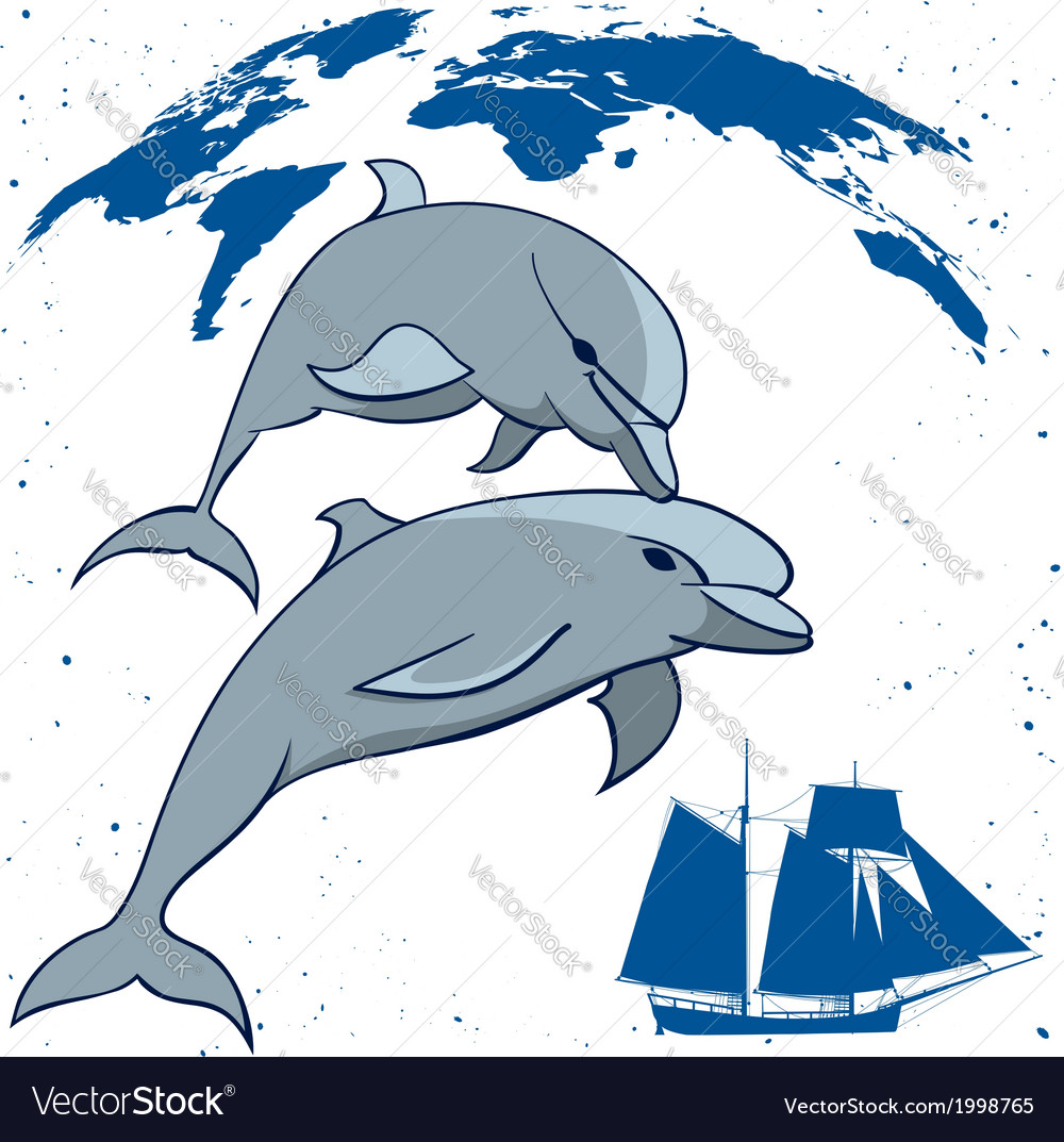 Dolphins and tall ship vector | Price: 1 Credit (USD $1)