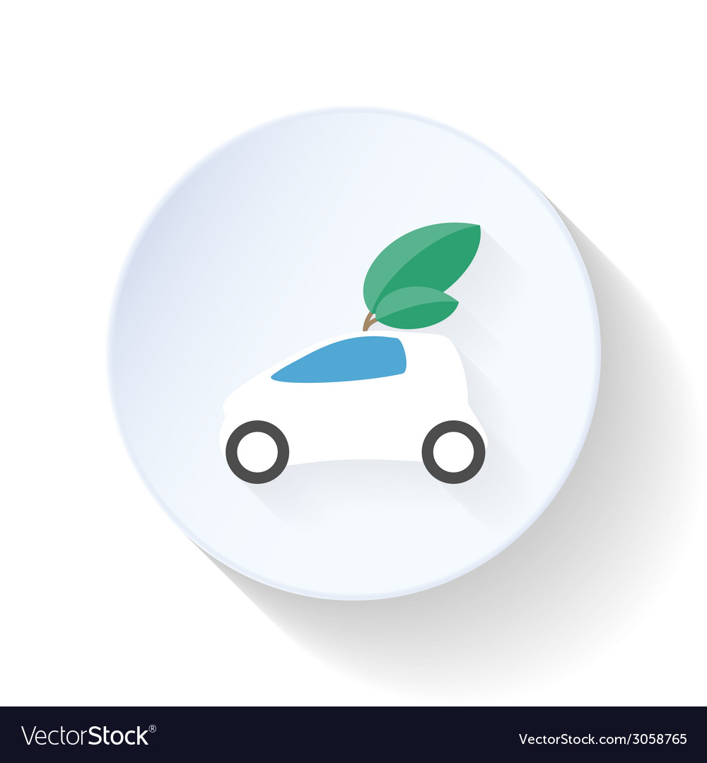 Environmentally friendly car flat icon vector | Price: 1 Credit (USD $1)