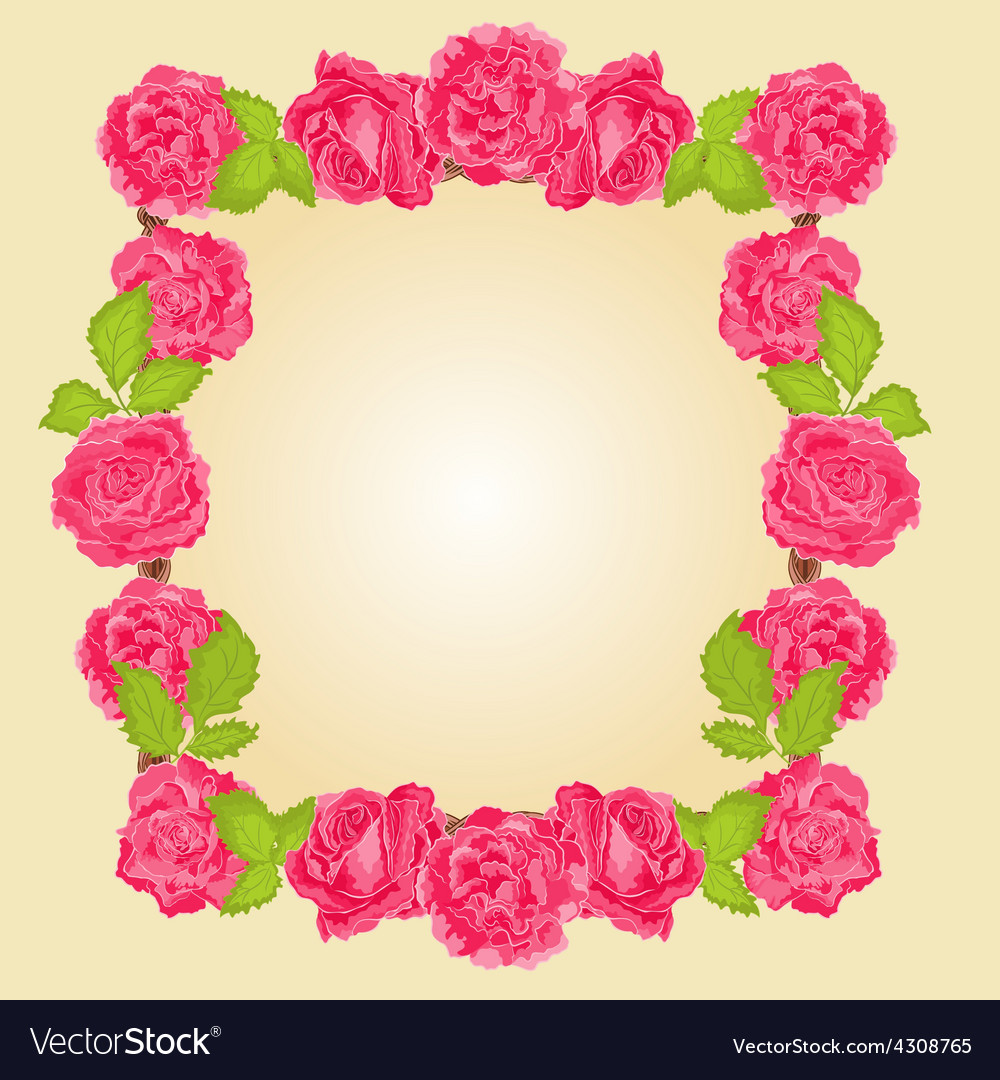 Frame with roses greeting card festive background vector | Price: 1 Credit (USD $1)