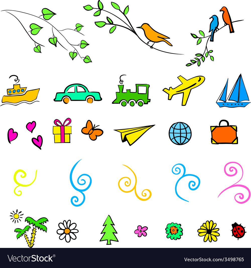 Fun summer spring travel  set icon vector | Price: 1 Credit (USD $1)