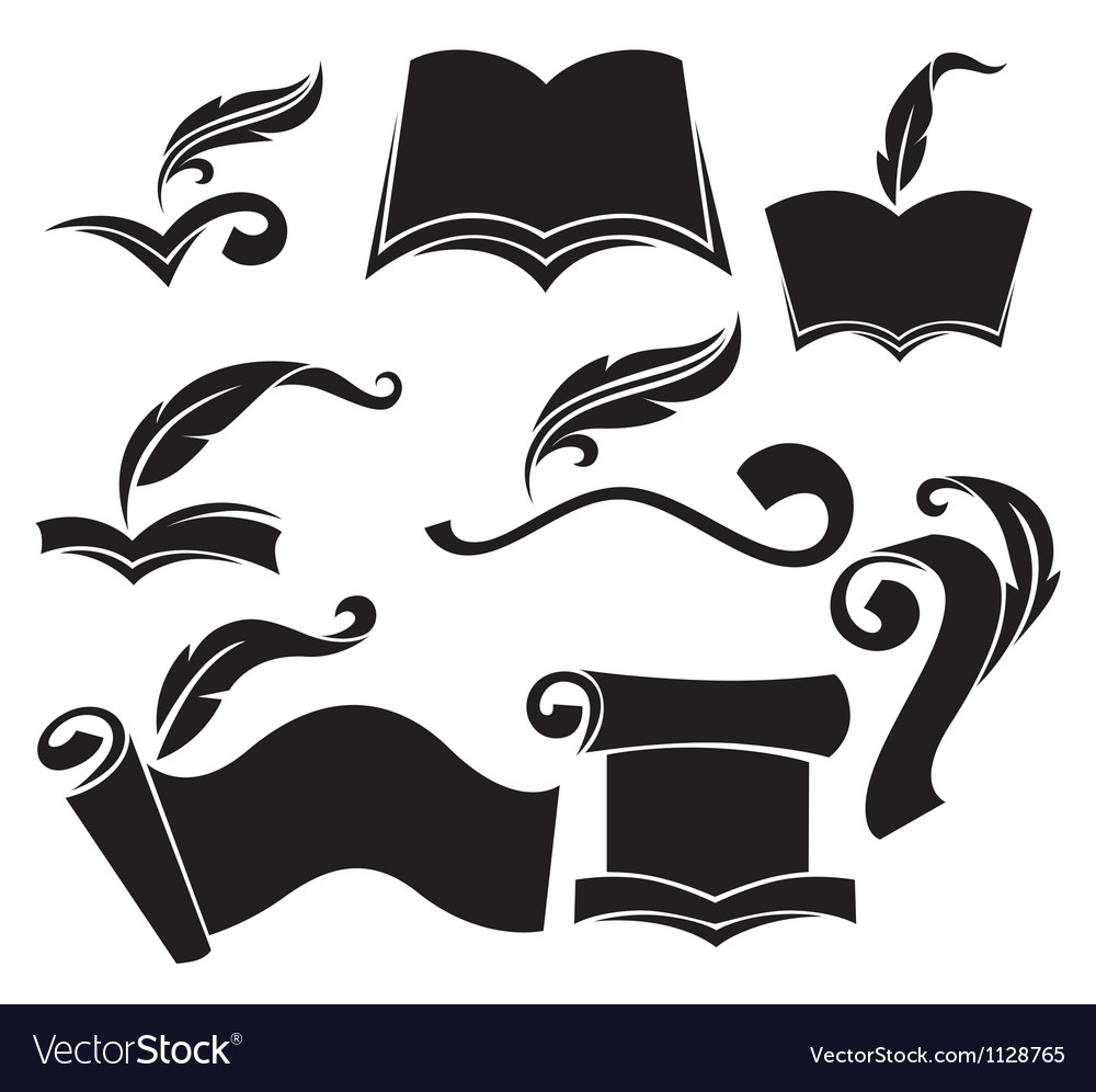Old books parchment reading and writing symbols vector | Price: 1 Credit (USD $1)