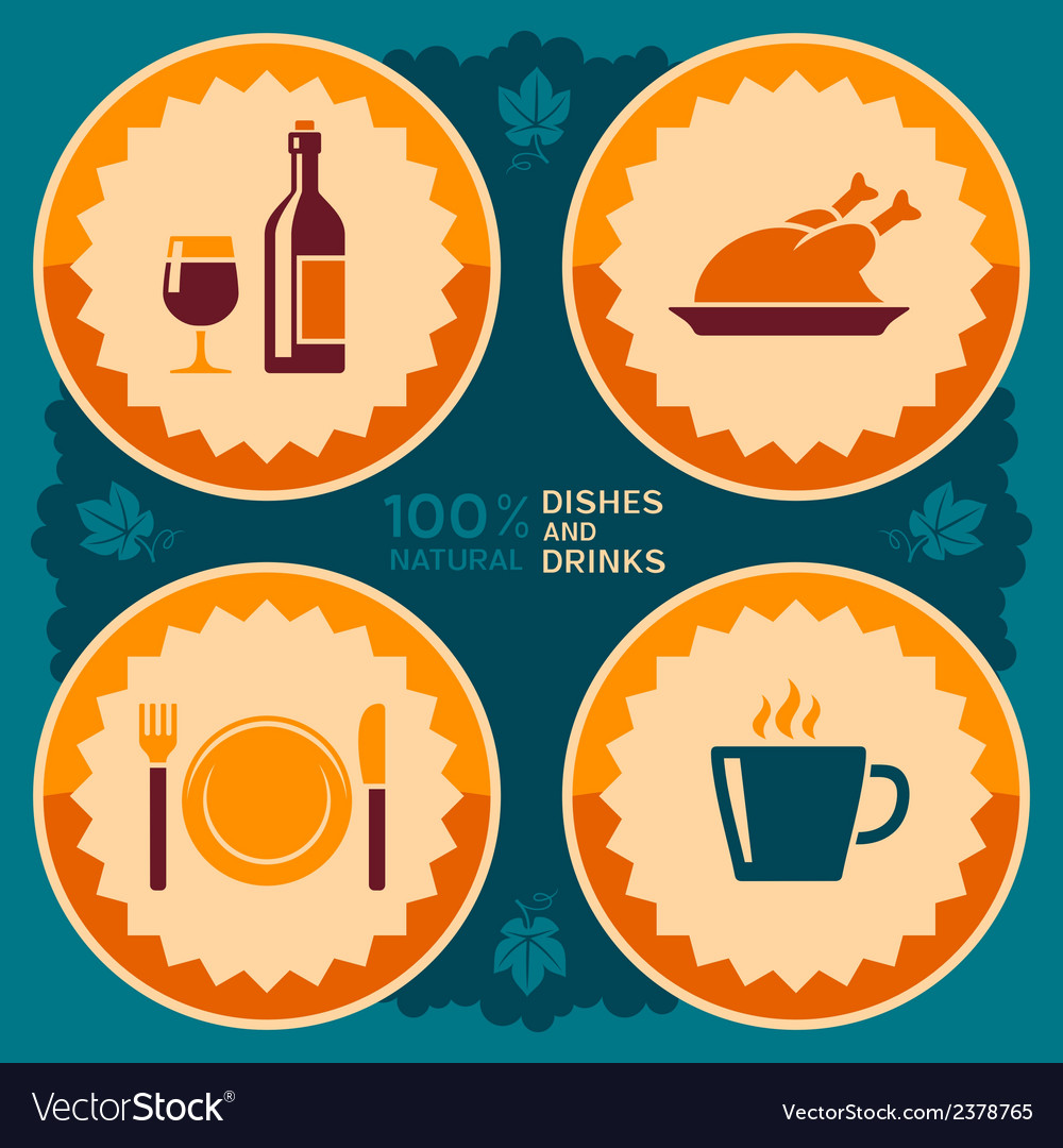 Restaurant poster design with food and drink icons vector | Price: 1 Credit (USD $1)