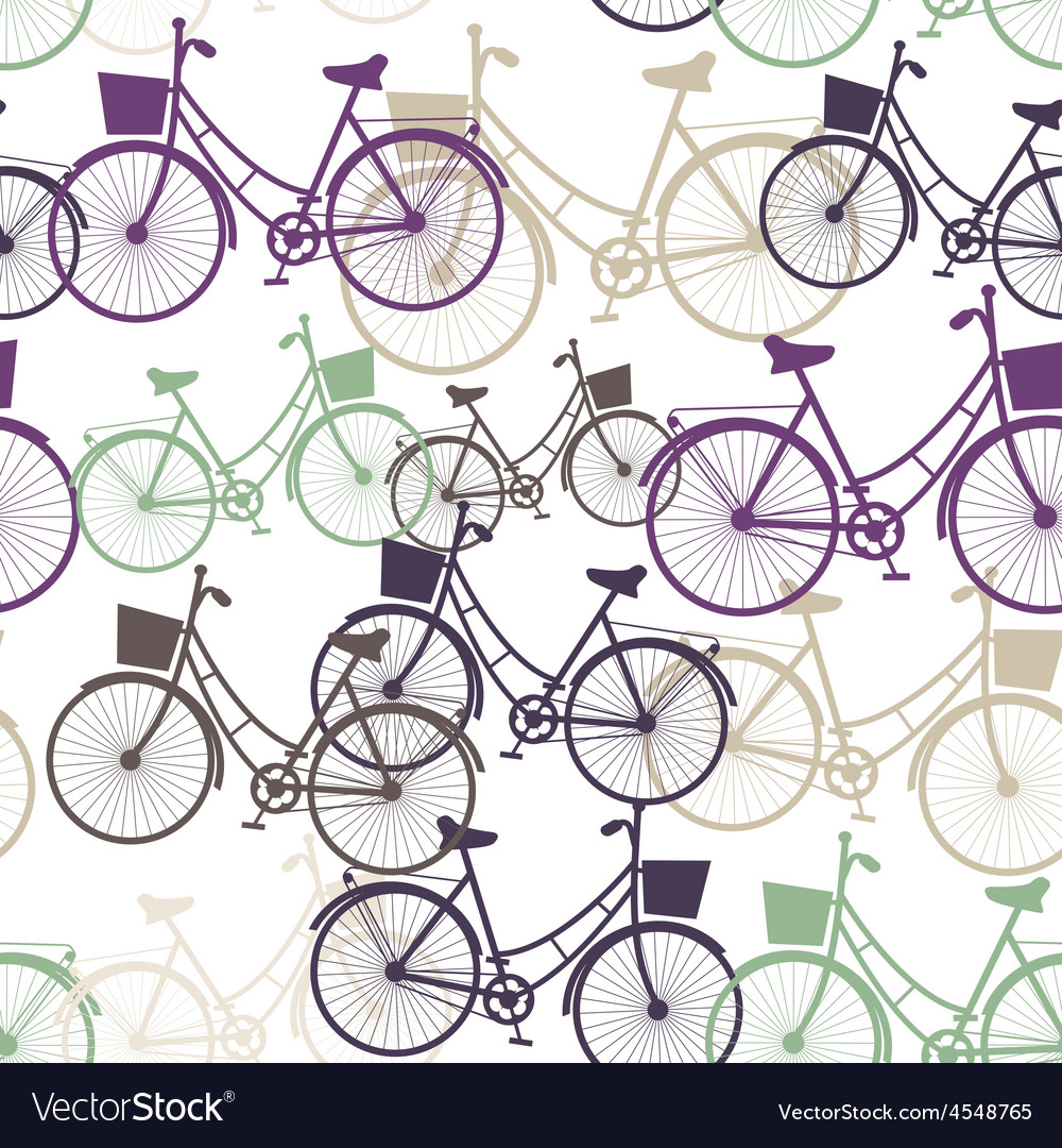 Vintage bicycles seamless pattern pastel colors vector | Price: 1 Credit (USD $1)