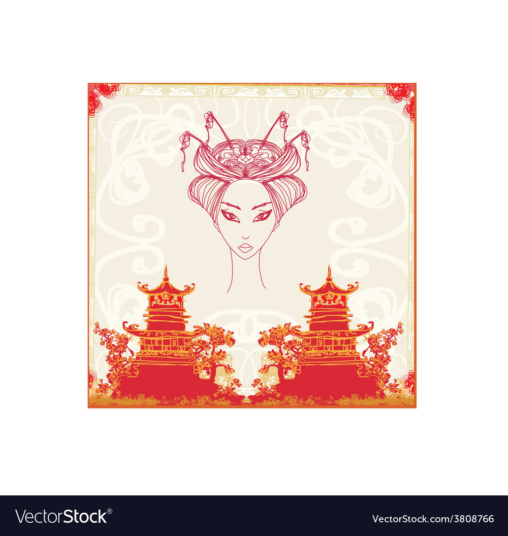 Abstract asian landscape and beautiful geisha vector | Price: 1 Credit (USD $1)