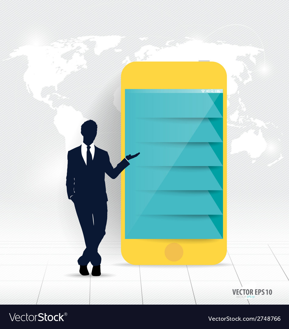 Businessman showing touchscreen device with vector | Price: 1 Credit (USD $1)