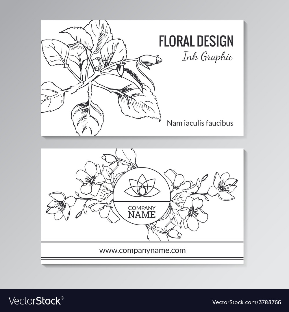 Floral templates for business or visiting cards vector | Price: 1 Credit (USD $1)