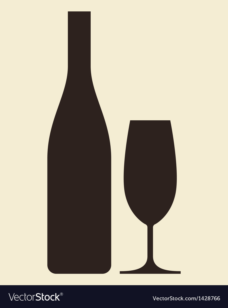 Glass of champagne and bottle vector | Price: 1 Credit (USD $1)