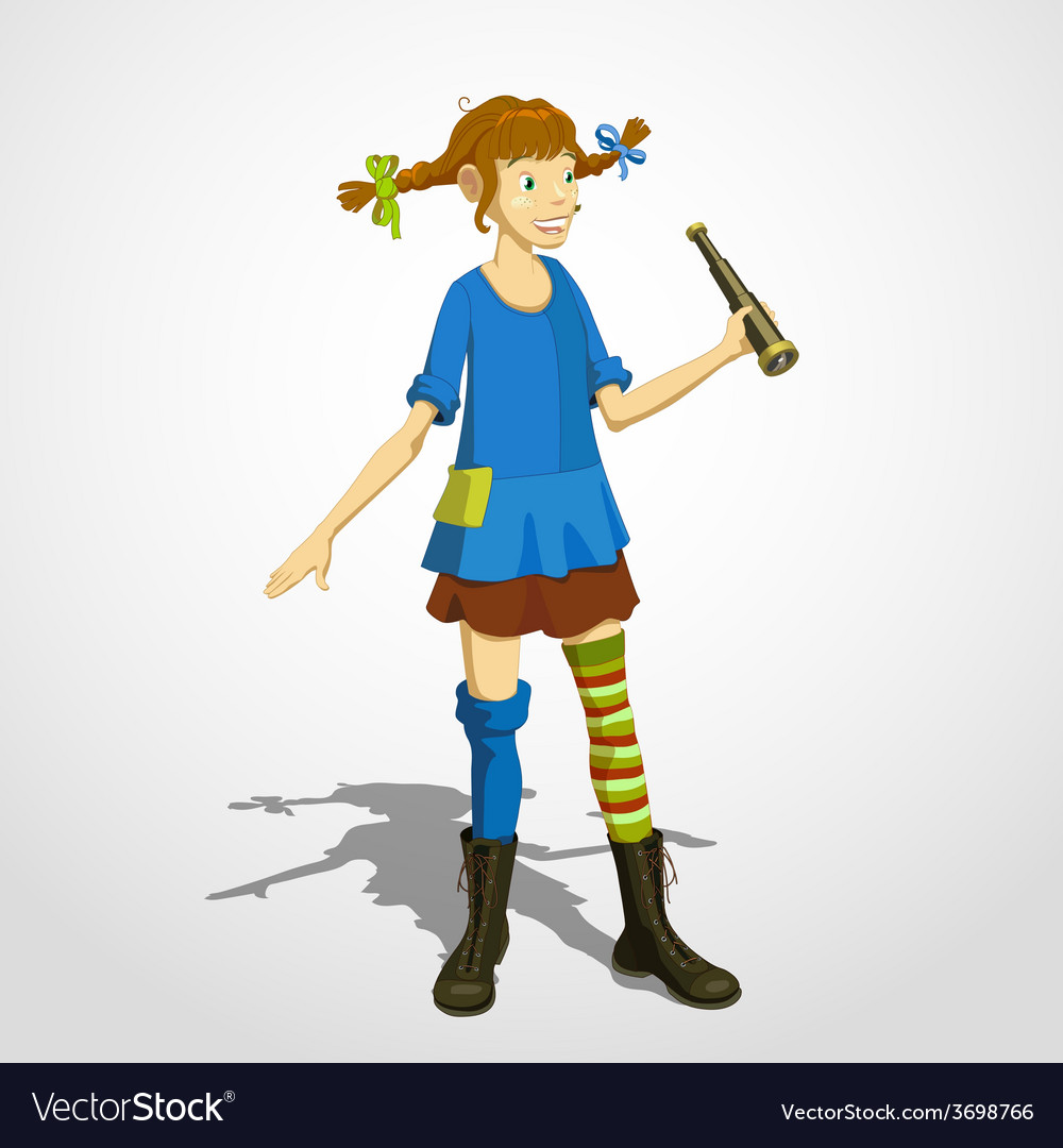 Pippi longstocking with spyglass vector | Price: 1 Credit (USD $1)