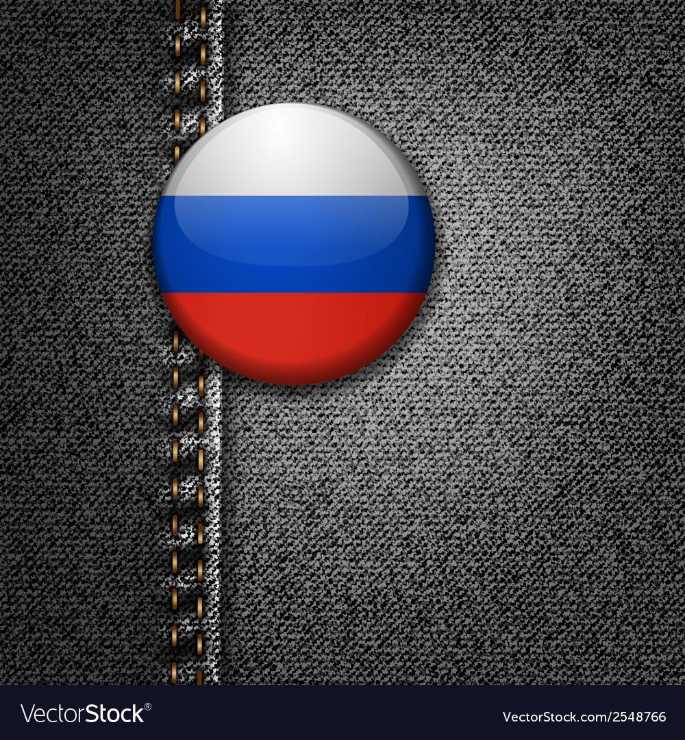 Russia badge on black denim jeans fabric texture vector | Price: 1 Credit (USD $1)