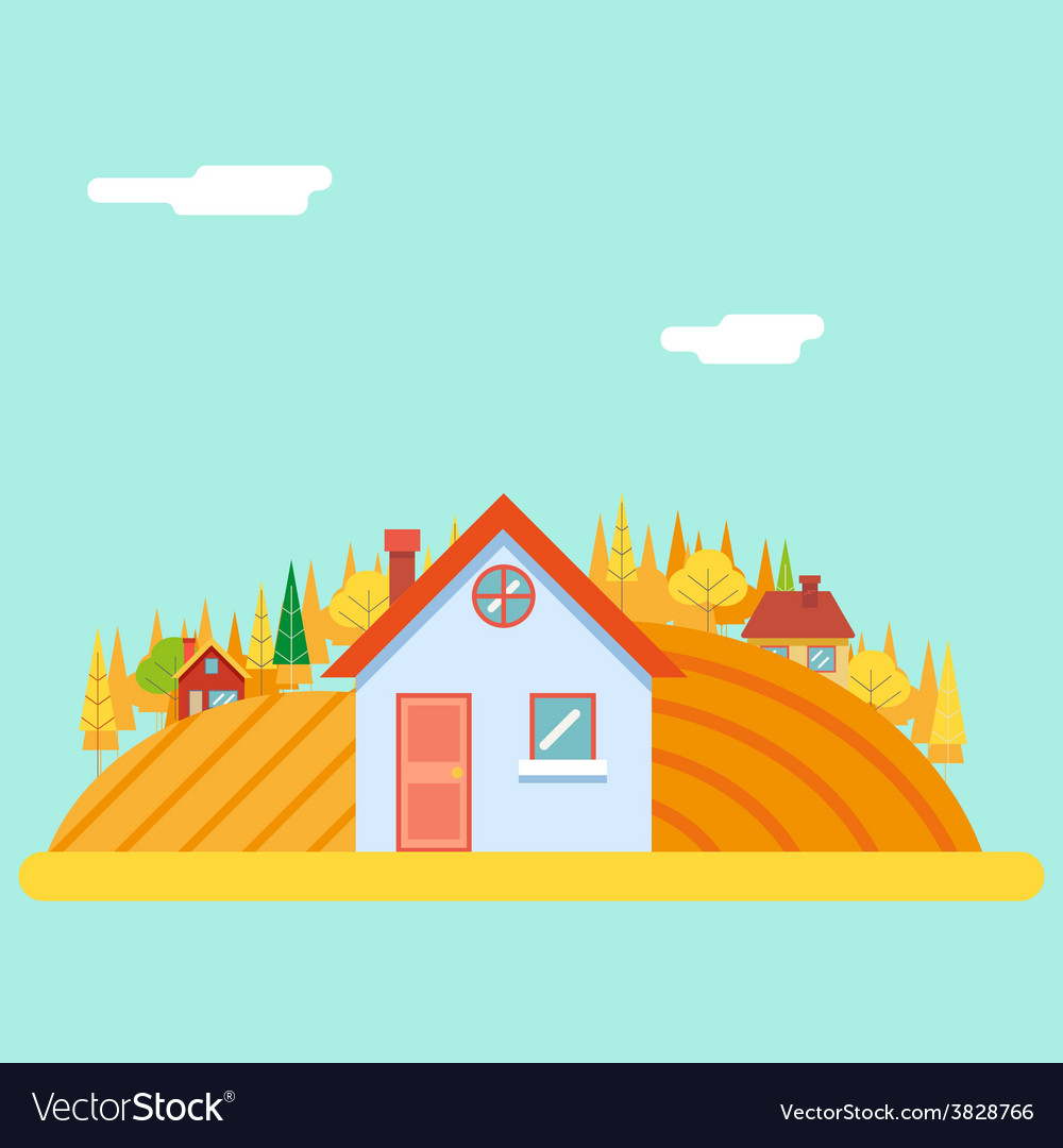 Seasons change autumn village hills field vector | Price: 1 Credit (USD $1)
