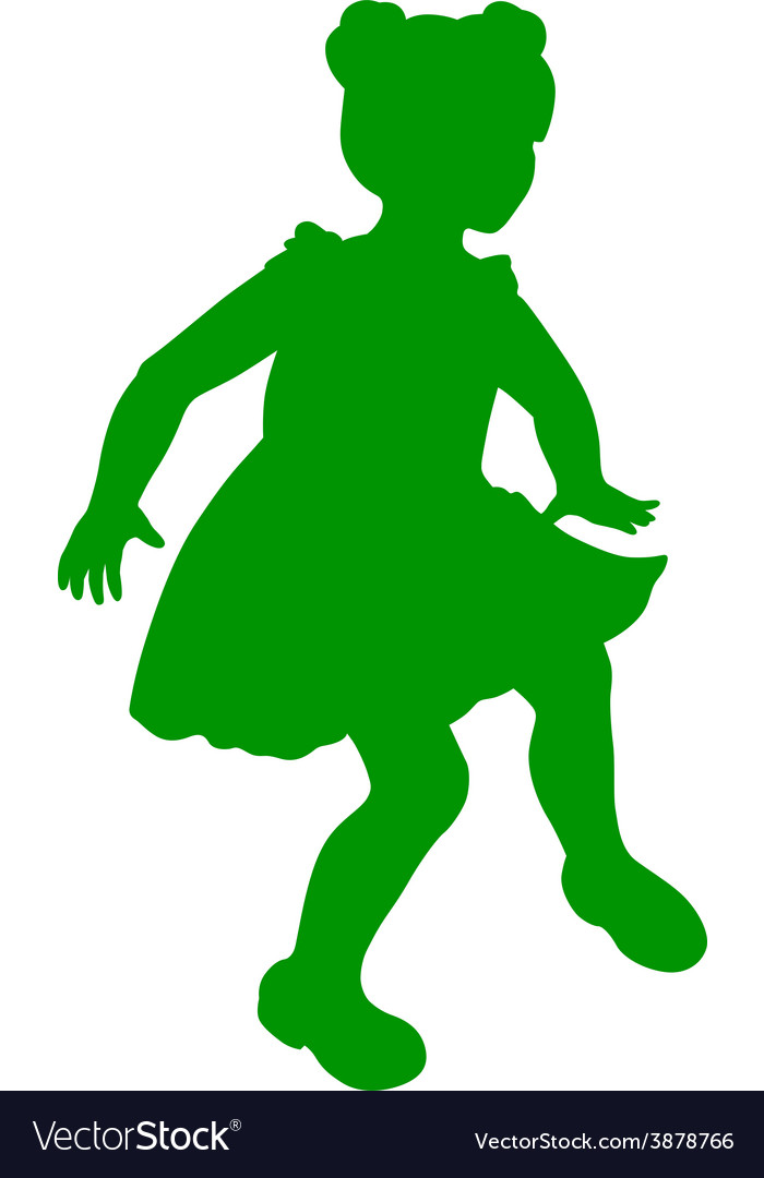 Silhouette of little girl vector | Price: 1 Credit (USD $1)