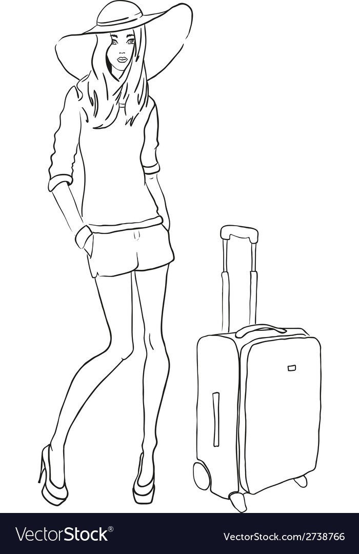 Sketch fashion woman with bag vector | Price: 1 Credit (USD $1)