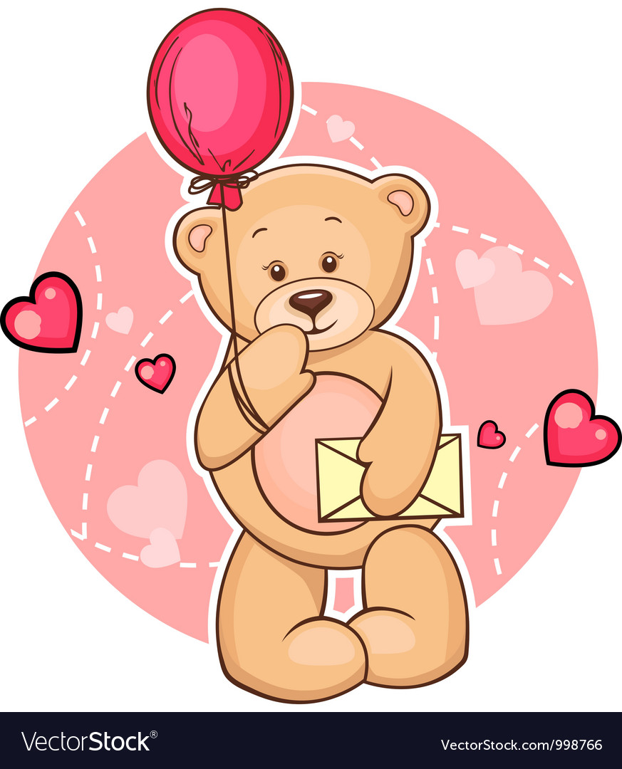 Teddy bear with message vector | Price: 3 Credit (USD $3)