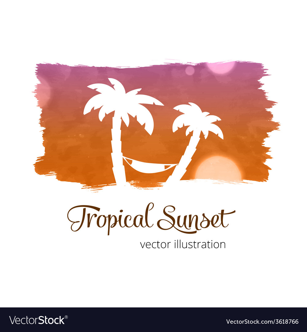 Watercolor splash sunset colors with palm vector | Price: 1 Credit (USD $1)
