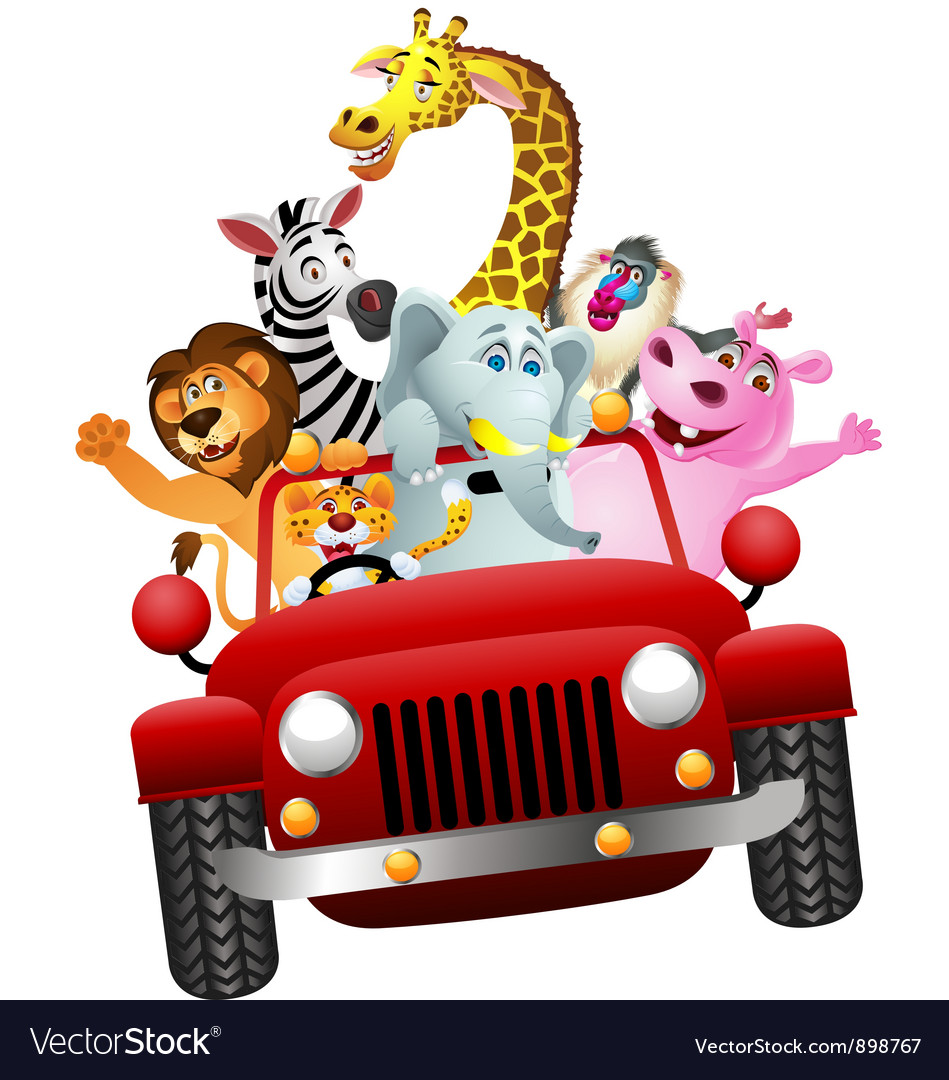 African animals in red car vector | Price: 3 Credit (USD $3)
