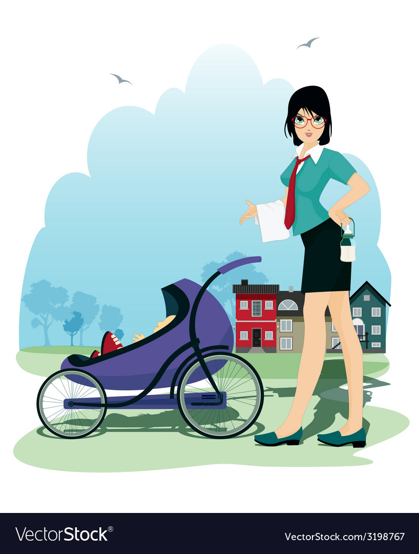 Baby in stroller vector | Price: 3 Credit (USD $3)