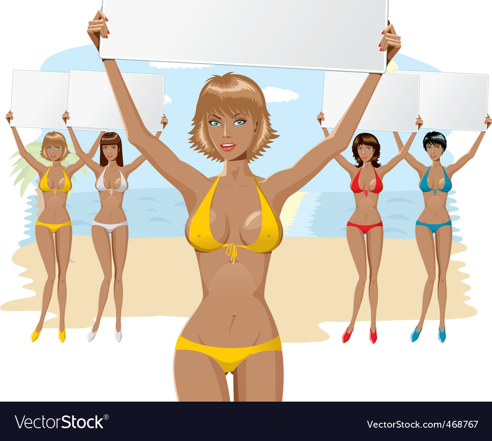Bikini girl with empty board vector | Price: 3 Credit (USD $3)