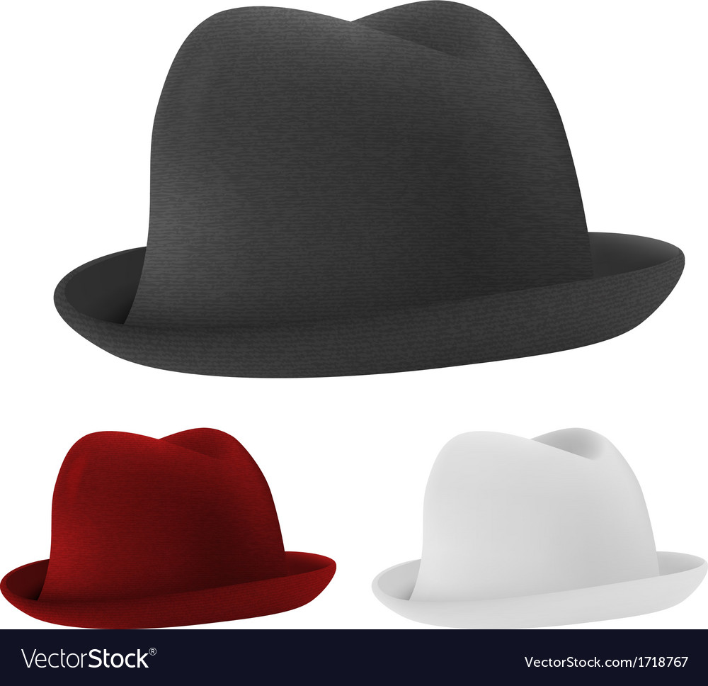 Bowler hats set template vector | Price: 1 Credit (USD $1)