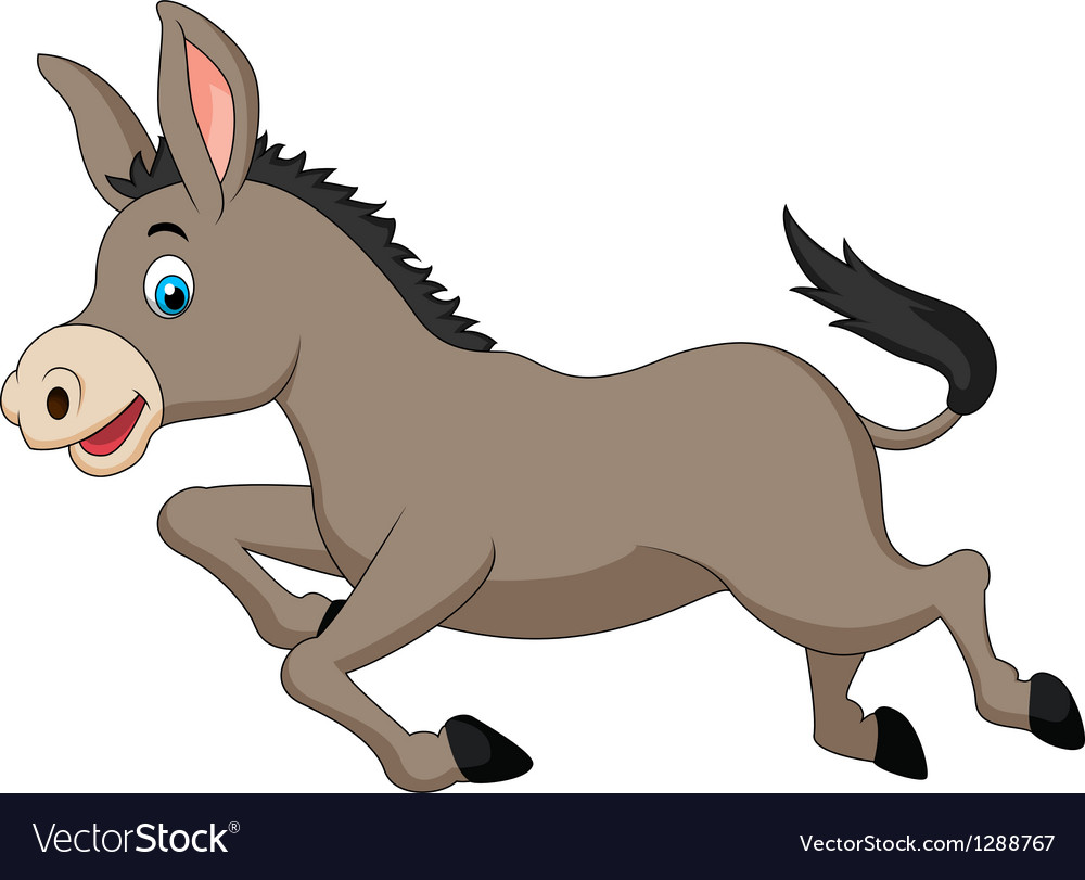 Cute donkey cartoon running vector | Price: 1 Credit (USD $1)