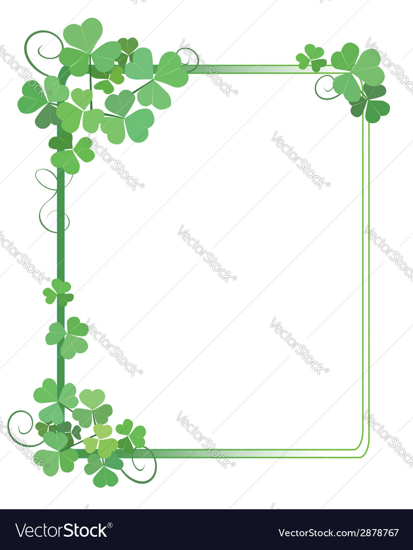 Decorative green frame with shamrock vector | Price: 1 Credit (USD $1)