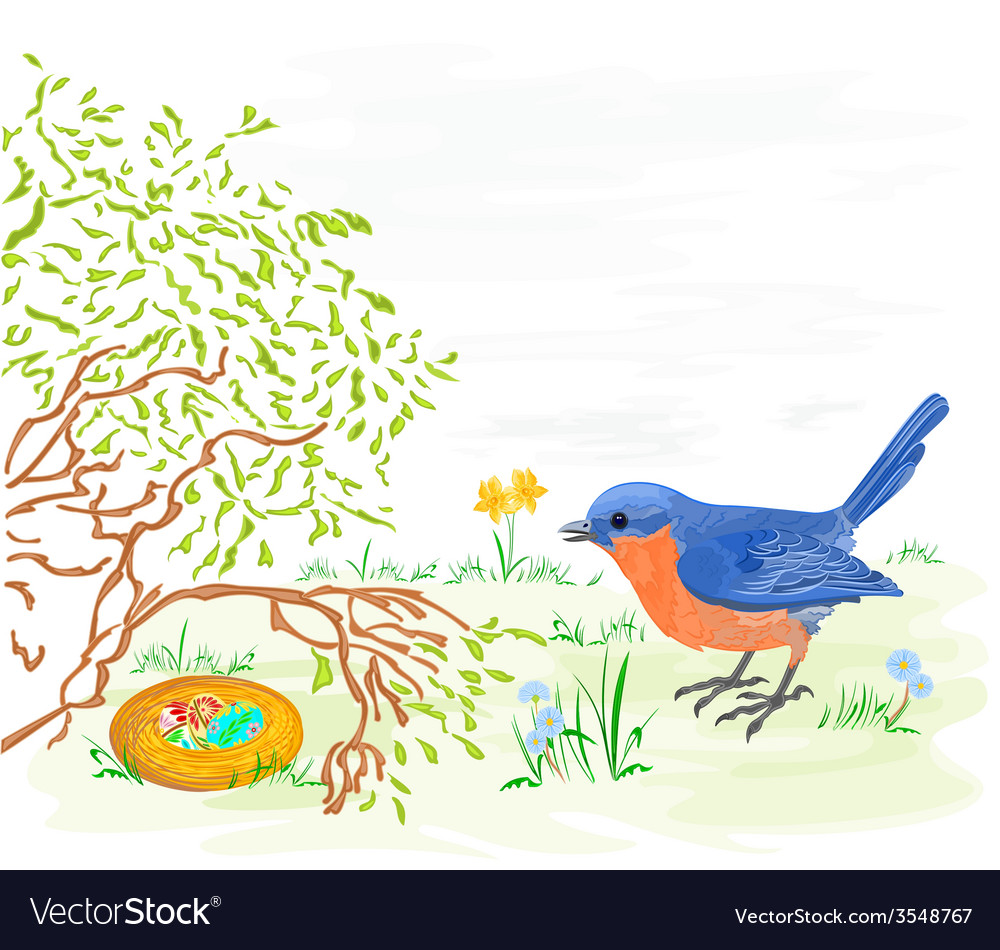 Easter bird with daffodils and easter eggs vector | Price: 1 Credit (USD $1)