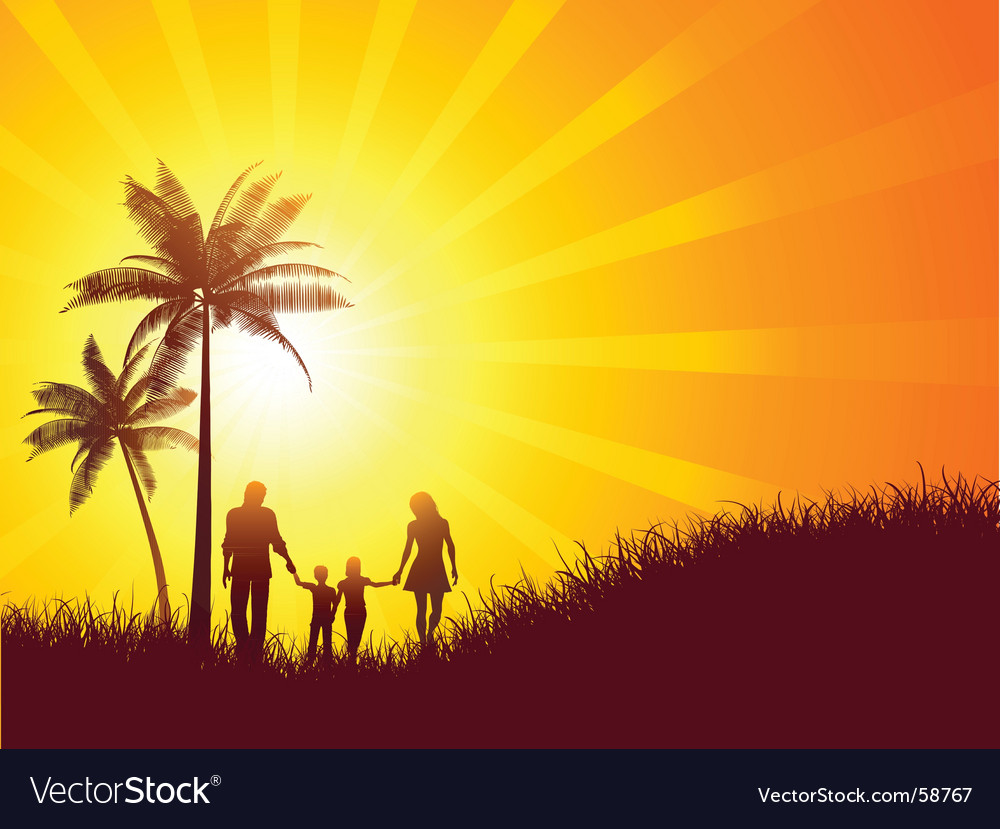 Family on holiday vector | Price: 1 Credit (USD $1)